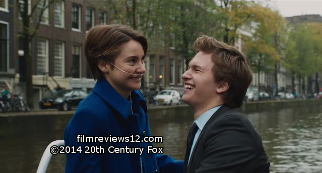"Shailene Woodley (l) and Ansel Elgort (r) in a scene from Josh Boone's ""The Fault in Our Stars""."