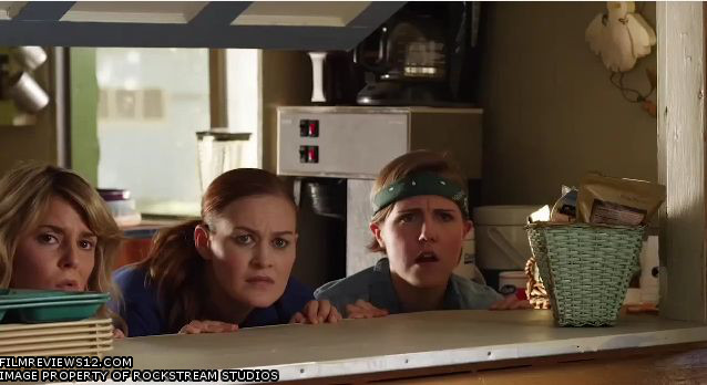 """L to R: Grace Helbig, Mamrie Hart, and Hannah Hart in a scene from Chris and Nick Riedell's """"Camp Takota""""."""