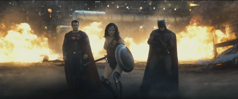 l to r: Henry Cavill, Gal Gadot, and Ben Affleck in a scene from Zack Snyder's Batman v. Superman: Yawn of Justice
