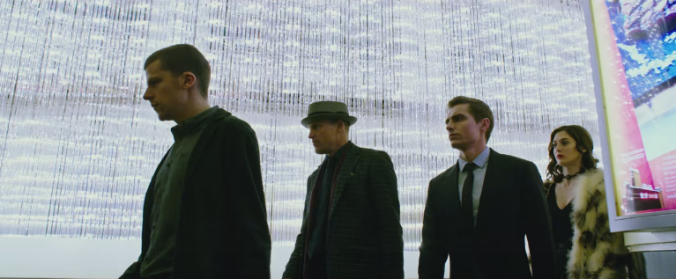 Left to right: Jesse Eisenberg, Woody Harrelson, Dave Franco, and Lizzy Caplan in a scene from Jon M. Chu's Now You See Me 2.